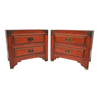 Vintage Red Chinoiserie Nightstands - A Pair