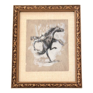 Original Bucking Bronco Drawing by Anna Heigh For Sale