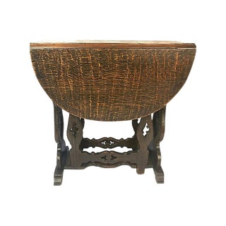 Argentinian Carved Oak Drop-Leaf Table