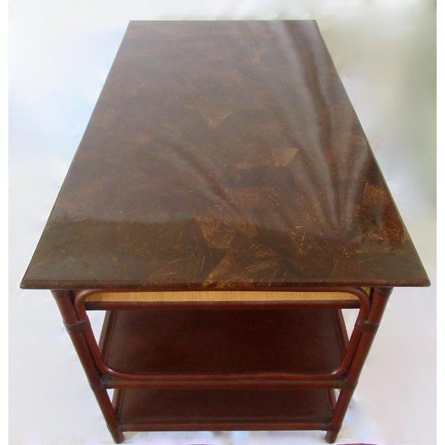1970s British Colonial-Style Rattan Tobacco Leaf Top Writing Desk For Sale - Image 10 of 13