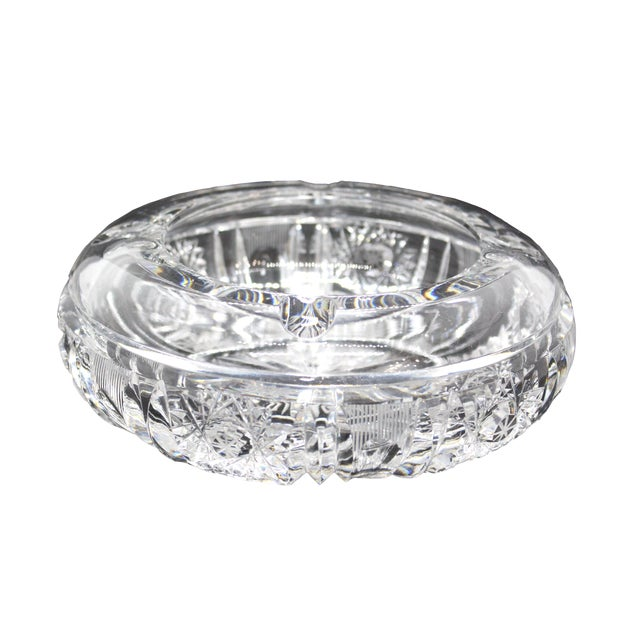 1960s Hollywood Regency Thick Cut Crystal Ashtray For Sale