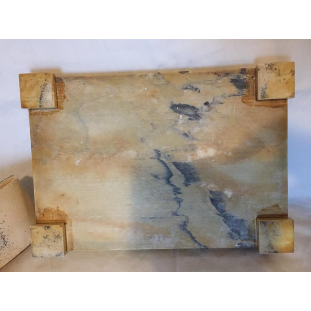 1920s Italian Art Deco Siena Marble Double Inkwell Desk Set - 3 Pieces For Sale - Image 5 of 7