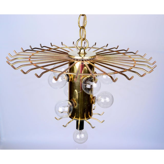 Round Two Tier Brass and Lucite Chandelier - Image 7 of 11
