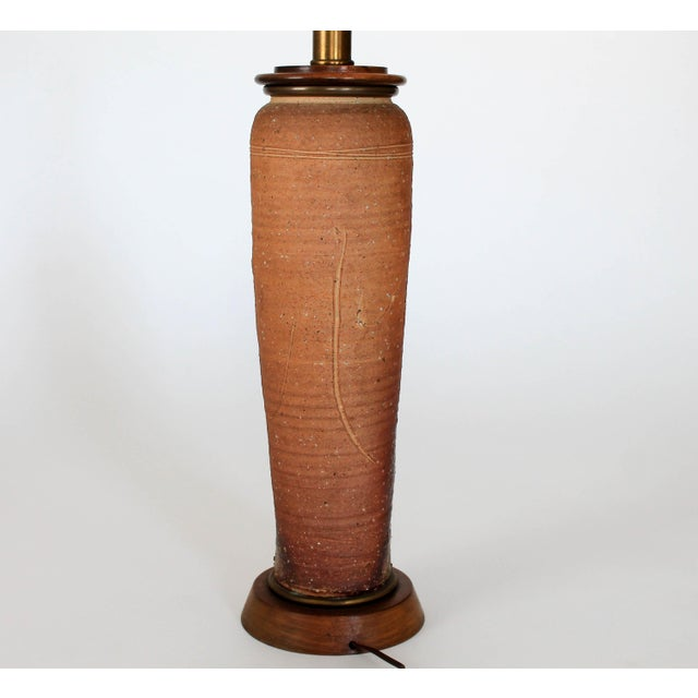 Mid Century Pottery Table Lamp For Sale In Milwaukee - Image 6 of 8