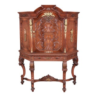 Carved Burled Walnut and Ormolu Mounted Bar Cabinet, Circa 1920s For Sale