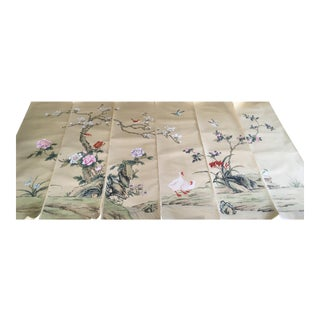 Collectible Antique Chinese Export Hand-Painted Wallpaper Six Panels Chinoiserie Birds and Flowers For Sale