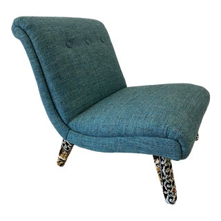 Mid-Century Slipper Chair Teal Turquoise With Upholstered Legs For Sale