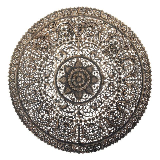 """Antique Burn Carved Medallion Panel 72"""" For Sale"""