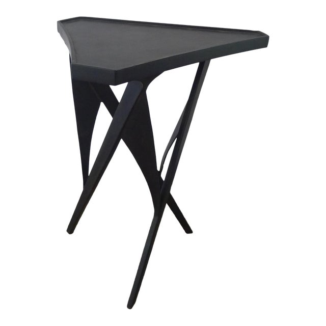 Paul Marra Triangular Steel Side Table For Sale