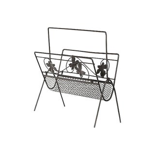 1960s Mesh & Leaf Magazine Rack For Sale