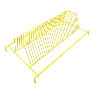 Yellow Wire Vinyl Record Rack / Letter Sorter For Sale