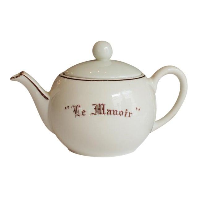 """Vintage French """"Le Manoir"""" Porcelain Teapot For Sale"""