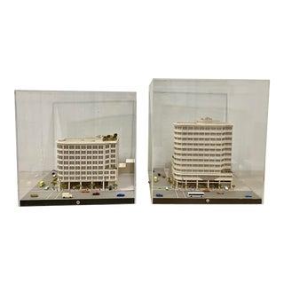 Pair of Vintage Architecture Building Models Under Plexiglass C.1970s For Sale