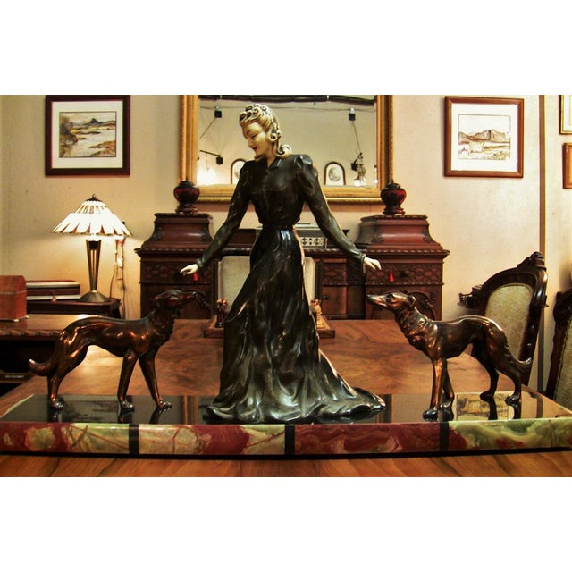 Large Art Deco Sculpture of Bronze Lady With Dogs on Marble Base - Impressive and Important For Sale - Image 9 of 11