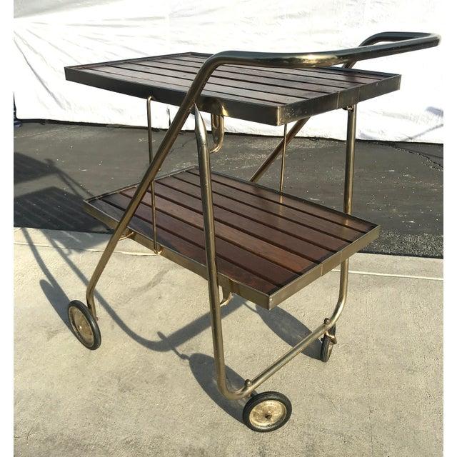 Mid-Century Wood Slat & Metal Rolling Bar Cart - Image 7 of 10
