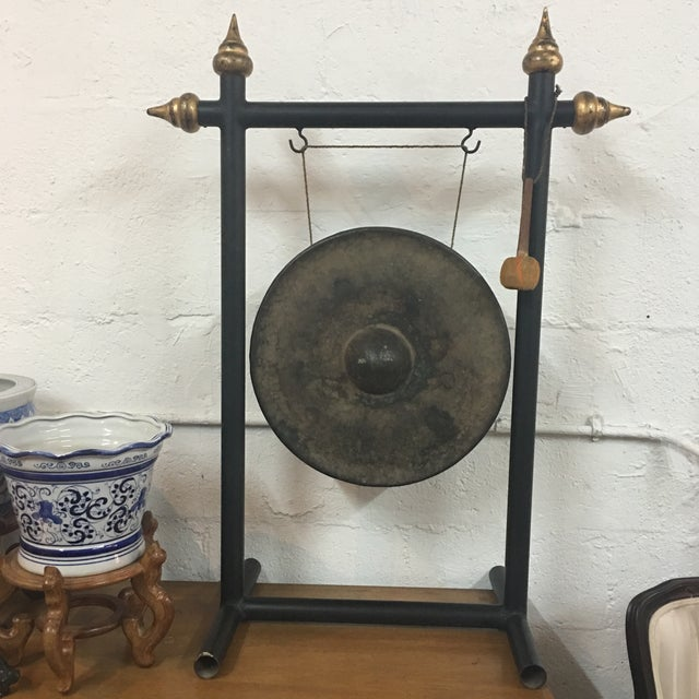 Vintage Chinese Bronze Gong Stand & Mallet - Image 2 of 10