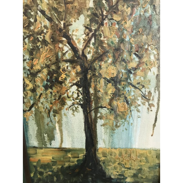 Impressionism Vintage Framed Oil Painting of a Tree, Signed For Sale - Image 3 of 8