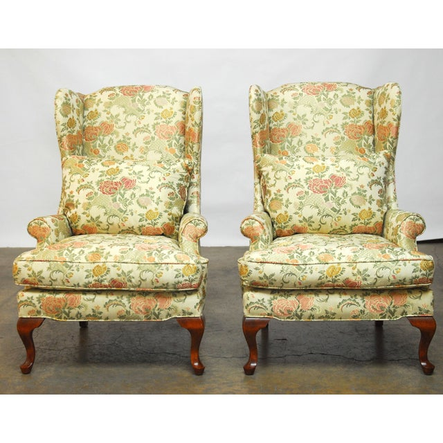 George II Style Brocade Wingback Chairs - A Pair - Image 2 of 9
