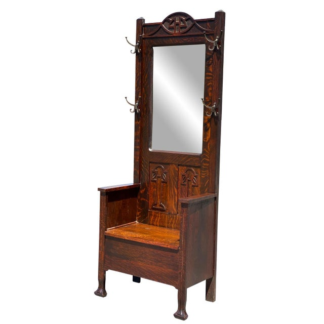 Arts & Crafts Antique Arts & Crafts Quartersawn Oak Carved Hall Tree Bench W/ Mirror For Sale - Image 3 of 13