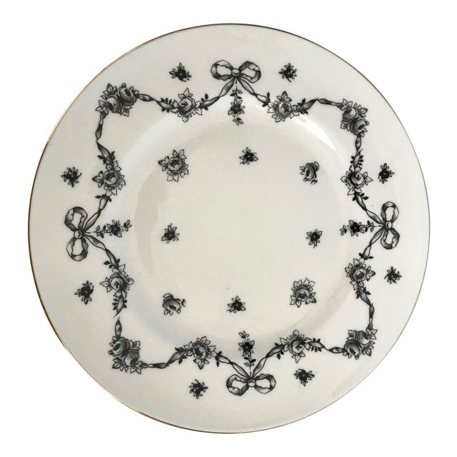 Antique Royal Victoria Black & White Floral Plate - Image 1 of 6
