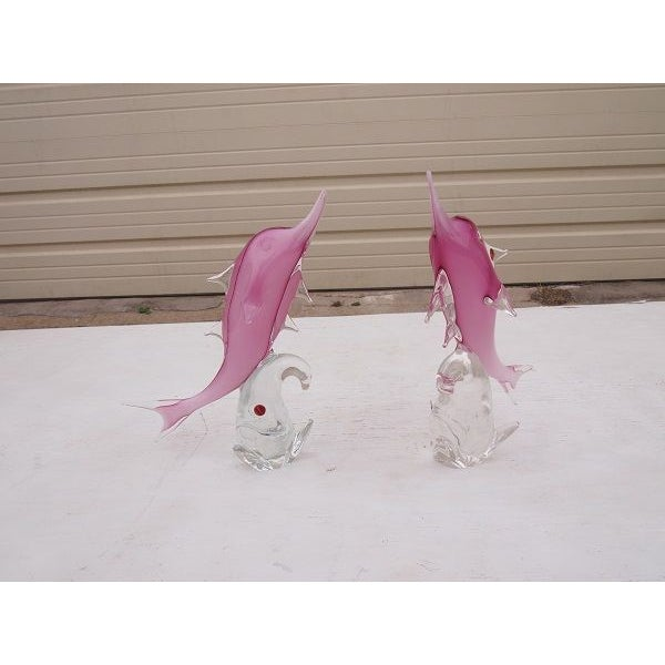 Murano Art Glass Italian Fish Sculptures - A Pair - Image 2 of 4
