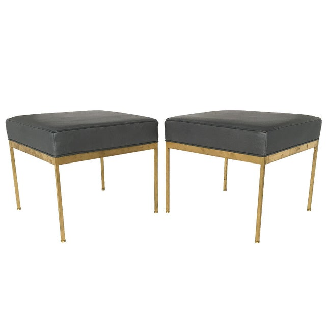 Lawson-Fenning Square Brass & Slate Gray Leather Ottomans - A Pair - Image 2 of 8
