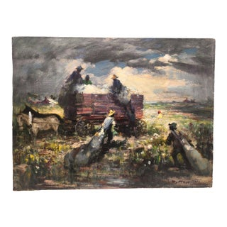 Impressionistic Rural Crop-Hauling Oil Painting Scene For Sale
