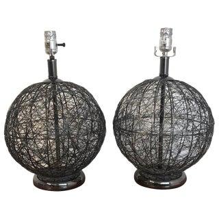 Pair of Mid Century Spun Gun Metal Sphere Lamps For Sale