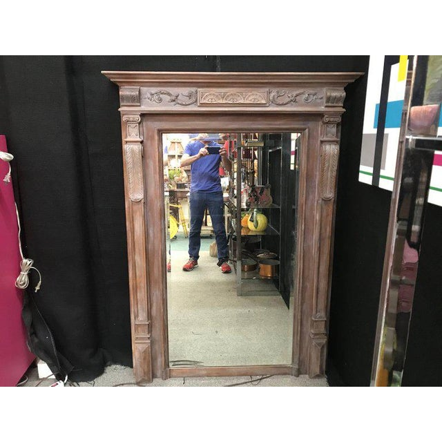 Late 19th Century 19th Century Antique Neoclassical Style French Limed Wood Beveled Mirror For Sale - Image 5 of 7