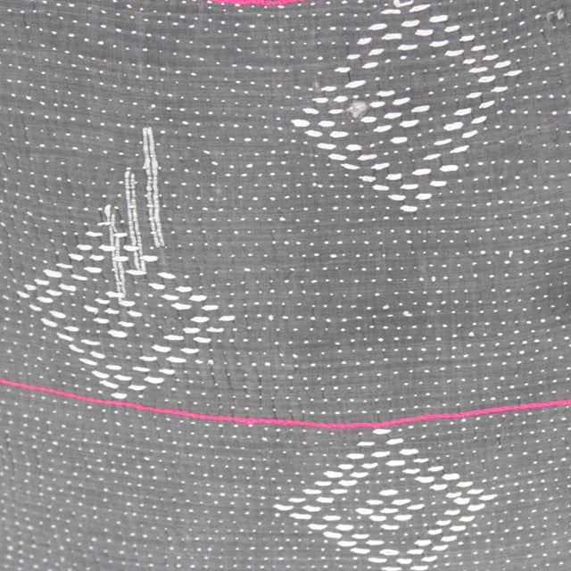 Dark Gray Bengal Kantha Pillows - A Pair For Sale - Image 5 of 5