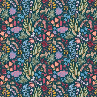 House of Harris Cambridge Fabric, Navy Multi For Sale