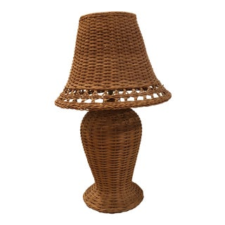 Wicker Table Lamp With Shade For Sale