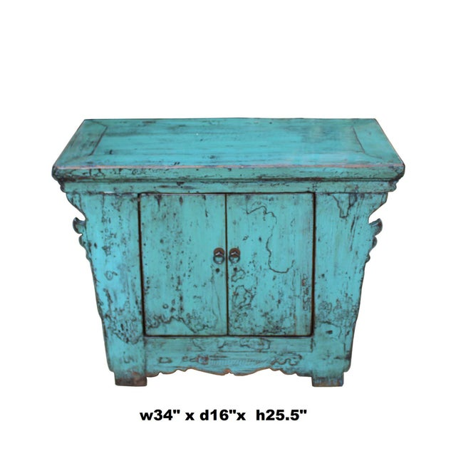 Wood Chinese Rustic Rough Wood Distressed Aqua Blue Side Table Cabinet For Sale - Image 7 of 8