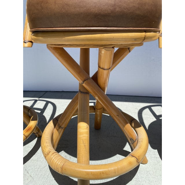 Real Bamboo Counter Stools With Twist Legs Set of Three For Sale In Miami - Image 6 of 13