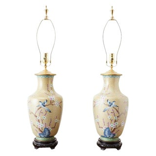 Pair of Chinese Cloisonne Floral Vases Mounted as Lamps For Sale
