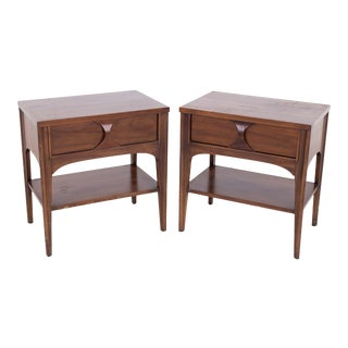Kent Coffey Perspecta Mid Century Walnut and Rosewood Nightstands - a Pair For Sale