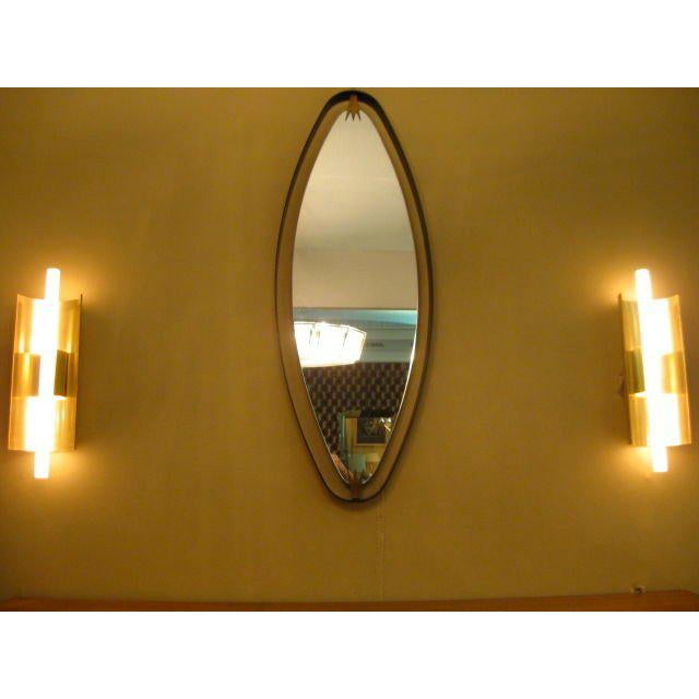 1940s Rare Pair of Italian Oval Mirrors For Sale - Image 5 of 7