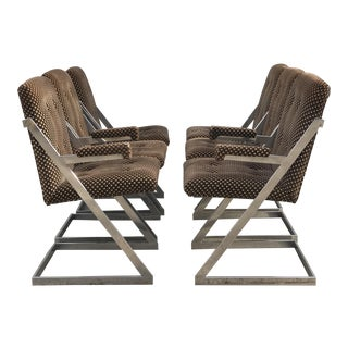 1970s Mid-Century Modern Milo Baughman Chrome Z Dining Chairs - Set of 6 For Sale