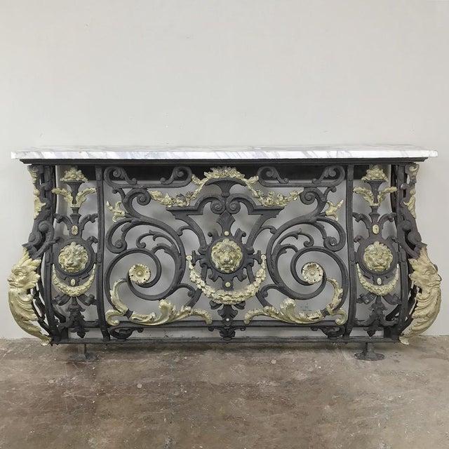 Napoleon III Period Cast Iron Marble Top Console For Sale In Dallas - Image 6 of 12