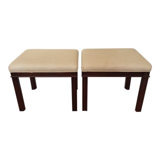 Sherrill Furniture Upholstered Stools - a Pair For Sale