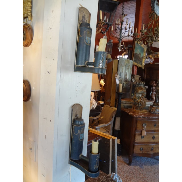 Blue 19th Century French Tole Painted Sconces, Pair For Sale - Image 8 of 10