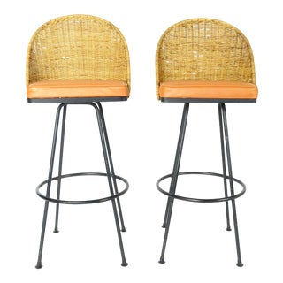 1960s Vintage Rattan Back Swivel Bar Stools- A Pair For Sale