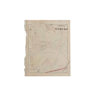 Antique Woburn Massachusetts Atlas Map Plate G