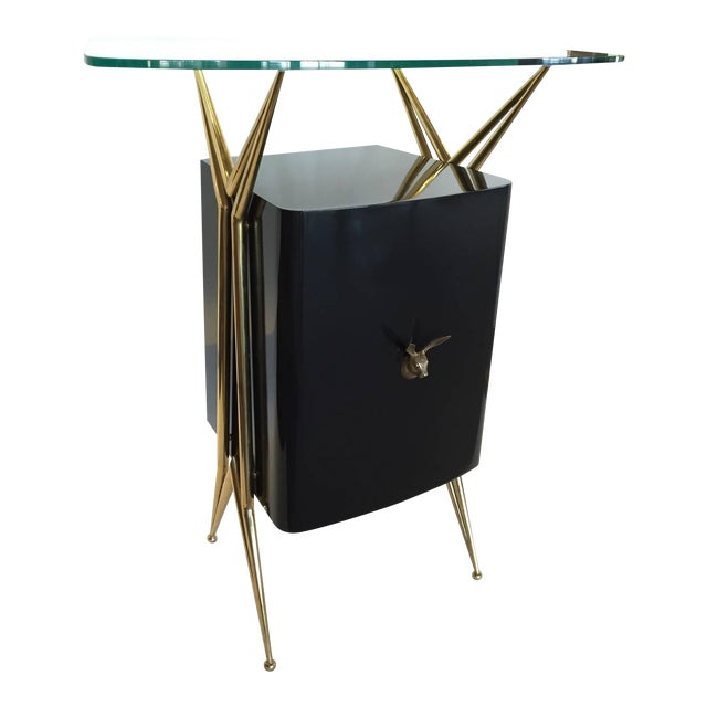 Italian Modernist Dry Bar with Floating Glass Top and Brass Accents For Sale