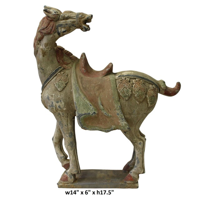 Chinese Pottery Clay Ancient Style Rustic Horse Figure - Image 6 of 7