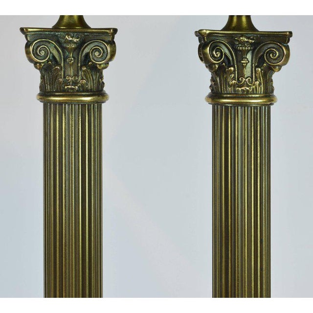 Classic Bronze and Marble Twin Corinthian Column Desk Lamp For Sale - Image 4 of 11