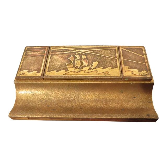 Antique Art Deco Silver Crest Bronze Desk Inkwell For Sale