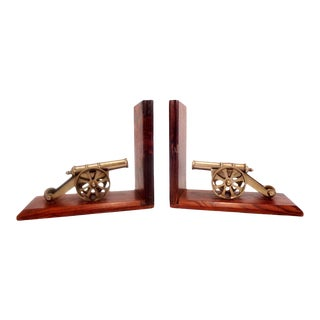 1960's Brass Cannon Bookends For Sale