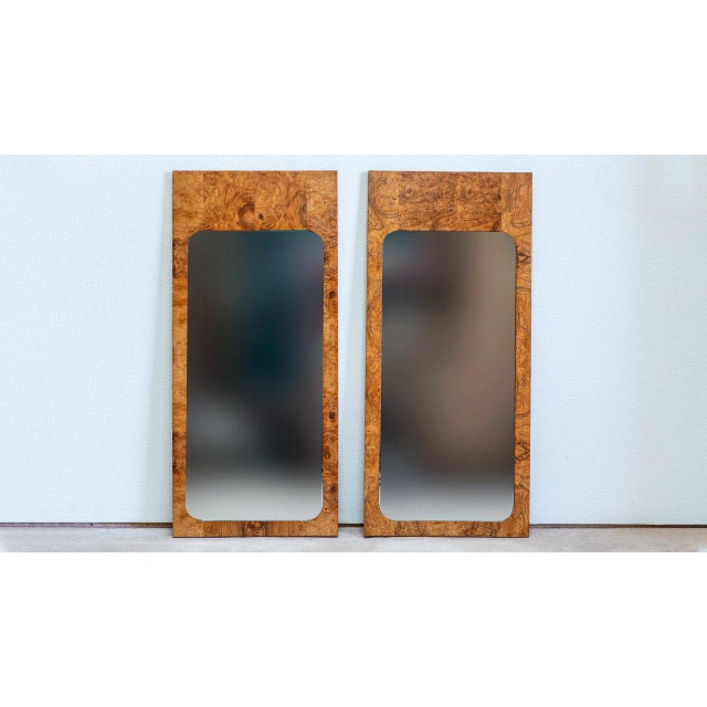 Hollywood Regency 1960s Roland Carter for Lane Furniture Burlwood Mirrors - a Pair For Sale - Image 3 of 3