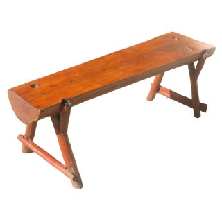 Special Midwest Delivery; Vintage Rustic Live Edge Log Bench For Sale